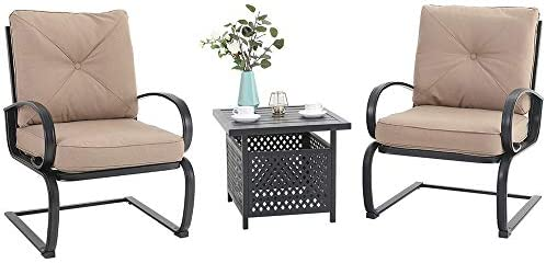 MFSTUDIO Patio Bistro Set 3 Piece Outdoor Dining Furniture Coversation Sets 2 Spring Motion Chairs Padded Cushion 1 Metal Square Coffee Table
