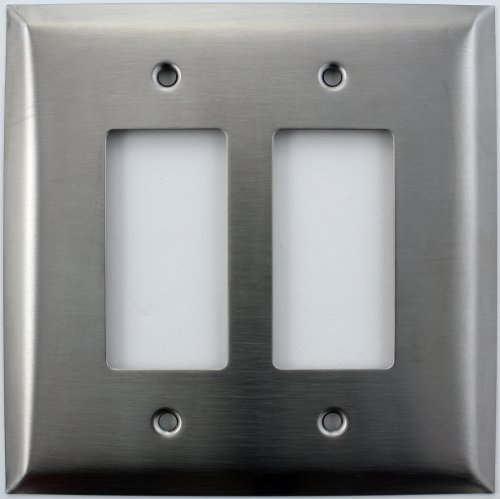 Over Sized Jumbo Satin Stainless Steel Two Gang GFI/Rocker Switch Plate