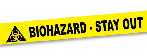 BigMouth Inc Biohazard Crime Scene Tape, 50 Foot Roll, Yellow Tape with Black Lettering, 3' Wide, Mad Scientist Party Decoration -