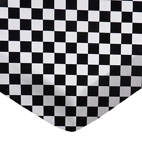 SheetWorld 100% Cotton Percale Fitted Crib Toddler Sheet 28 x 52, Black White Checkerboard, Made in USA