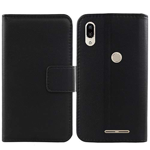 Gukas Design Genuine Leather Case for Blu Vivo XL4 6.2 Wallet Premium Flip Protection Cover Skin Pouch with Card Slot (Black)
