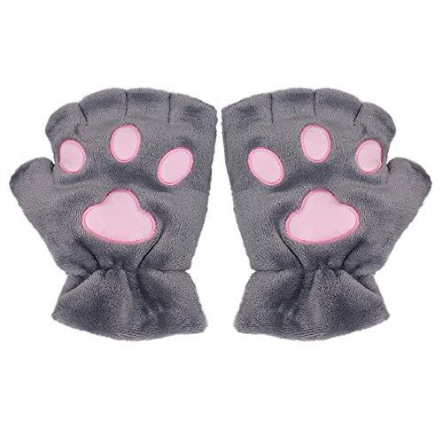 KINOMOTO Kawaii Cat Kitten Paw Fingerless Coral Fleece Plush Gloves for Girls Women Outdoor