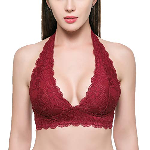Women's Halter Lace Bralette Top Unpadded Clasp Back Wirefree Lace Bra (for A-D ()