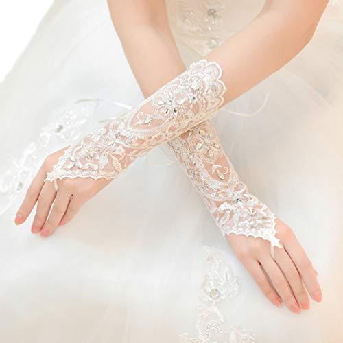 Elbow Wedding Gloves - Vivivalue Women Flowers Bride Bridal Long Lace Gloves Elbow Rhinestone Fingerless Satin Wedding Party Prom White