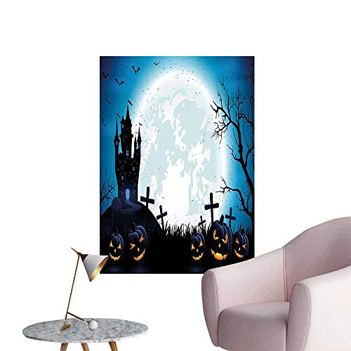 Wall Decals Spooky Concept with Halloween Icons Old Celtic Harvest Festival Figures in Dark Image Environmental Protection Vinyl,12