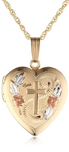 - 14k Yellow Gold Filled Engraved Cross Heart Locket, 18