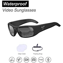 OhO sunshine Waterproof Video Sunglasses, 1080P Full HD Video Recording Camera with 32GB Built-in Memory and Polarized UV400 Protection Safety Lenses,Unisex Sport Design