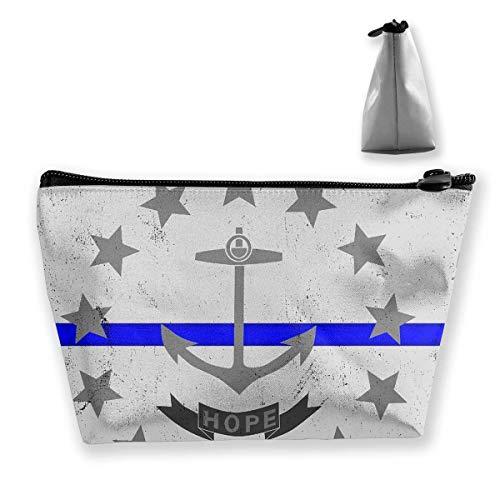 Blaue Linie Rhode Island State Flag Kosmetiktasche Make-up Aufbewahrungstasche Kulturveranstalter Federmäppchen Handtasche