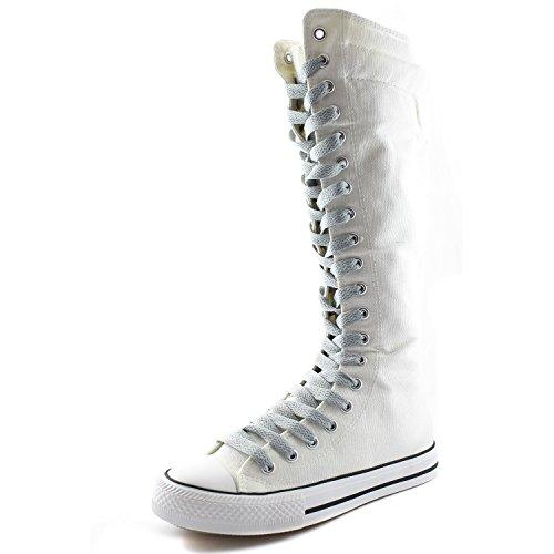 Dailyshoes Damesschoen Middenkuit Lange Laarzen Casual Sneaker Punk Flat, Witte Laarzen, Schoon Grijs Kant, 8.5 B (m) Us