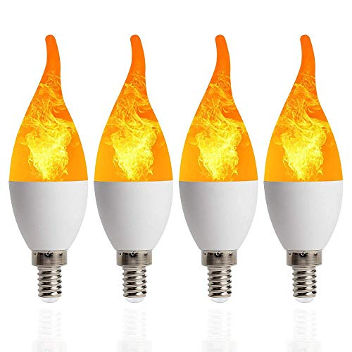 (XDT LED Flame Light Ambient Lighting Flame Light Flashing Flameless Candle Bulb Bar, Family, Hotel 2835 Flame Bulb (Shape : T2))