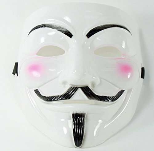 White V for Vendetta Guy Fawkes Anonymous Costume Halloween Cosplay Mask