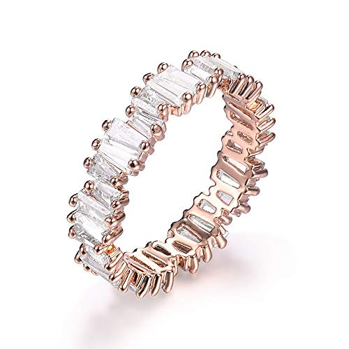YoGe Fashion AAA Cubic Zirconia Baguette Ring,Shinning, Thin Band Ring R0377 (Pink, 5)