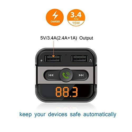 PERBEAT Bluetooth Transmisor FM Manos Libres Coche Radio Musica Receptor AltavozReproductor de MP3 con 5V/2.4A & 5V/1A Unidad Flash Cargador USB para Phone ...