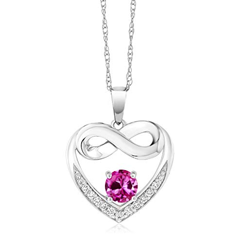 (Gem Stone King 0.97 Ct Pink Created Sapphire G/H Lab Grown Diamond 10K White Gold Necklace)