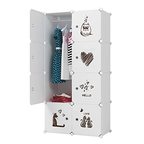 "KOUSI Kid Clothes Storage Organizer Baby Dresser Kid Closet Baby Clothes Storage Cabinet for Kids Room Baby Wardrobe Toddler Closet Childrens Dresser,18"" Deep, 10 Cubes&2 Hanging Sections"