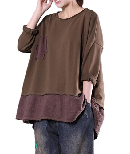 YESNO WA5 Women Casual Loose Fit T-Shirt Pullover Tops Breast Patchwork 'A' Skirt Back Slit Stitched Hem Long Sleeve