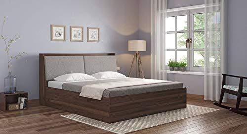 Urban Ladder Tyra King Size Engineered Wood Bed with Box Storage  Walnut Finish