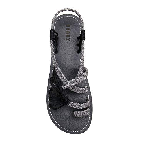 EAST LANDER Flat Sandals for Women Braided Strap Beach Shoes ZD002-W2-8 Black Grey