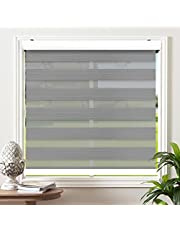"""Biltek Cordless Zebra Window Blinds Sheer Roller Shades/Free-Stop Combi Blinds, Dual Layer, Sheer or Privacy - White, 20"""" to 72"""" W x 72"""" H"""