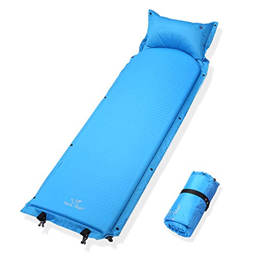Track Man Self-Inflating Sleeping Pad Attached Pillow,Comfortable Foam Padding,Ultralight Waterproof Backpacking,Hiking,Camping For Sale