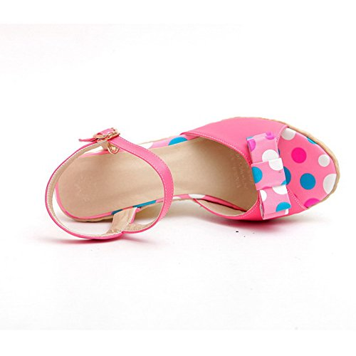 Buckle AmoonyFashion Heels Soft Open High Pink Womens Polka Material Sandals Toe Dots qTqx0r1