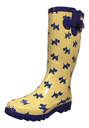 yellow and navy rain boots - 4