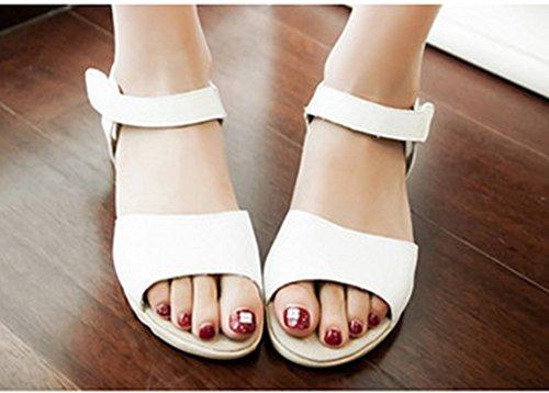 Ouvert Femme Scratch Bout Sandales Blanc Confortable Aisun 0Ttqt