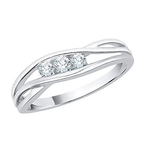KATARINA Diamond Bypass Three Stone Promise Ring in 14k White Gold (1/6 cttw, I-J, I1-I2) (Size-8.75)