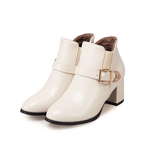 Corti Block Big Qin amp; Stivaletti Shoes Head Platform X Size Beige Round Heels Belt Buckle Heel Women's gzxnCRwqx6
