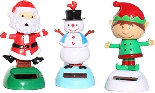 Christmas gift sets of 3 - 2014 Version 1 Snowman 1 Santa Claus 1 Elf Solar Powered Bobble Head Toy (Santa Bobble Claus Head)