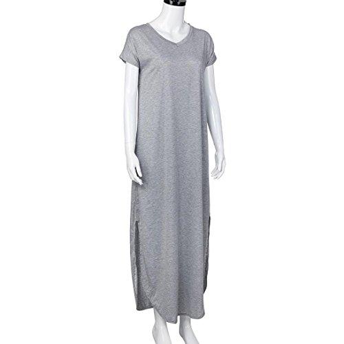 Elegant Dresses, Women's Casual Loose Pocket Long Dress Short Sleeve Split Maxi Dresses (Gray, L) by HTHJSCO
