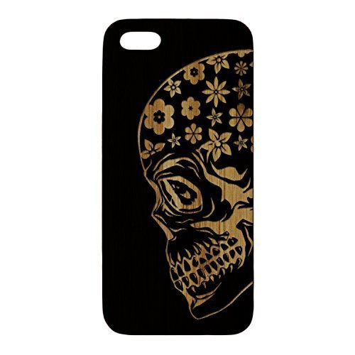 Bamboo Laser Engraved, Phone Case - Sugar Skull with Plumeria Flowers - for iPhone 6Plus