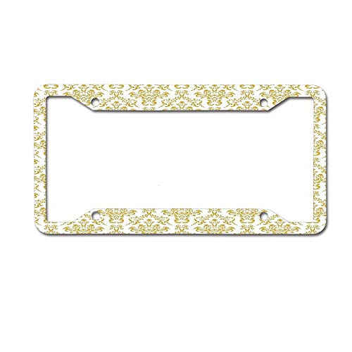 - Koperororo Damask Pattern Wallpaper White and Gold License Plate Aluminum License Plate Frame Heavy Duty Car Tag (12