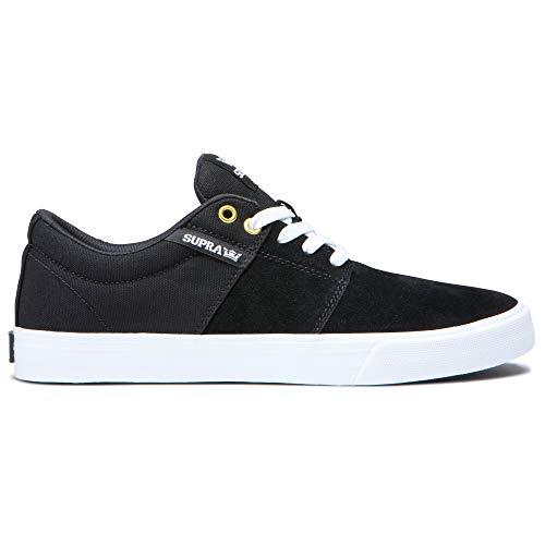 Supra Footwear - Stacks Vulc II Low Top Skate Shoes, Black/Black-White, 10.5 M US Women/9 M US Men from Supra Footwear