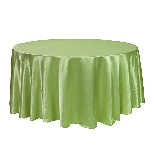 COOCOl 1Pcs 57''90''120'' Tablecloth Solid Round Satin Table Cloth for Wedding Party Hotel Banquet Decor,Light Green,90Inch-228Cm -