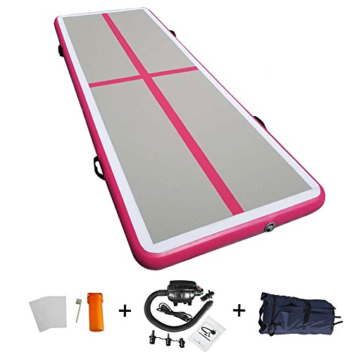 86 York 10ft Air Track Tumbling Mat for Gymnastics Inflatable Airtrack Floor Mats with Electric Air Pump for Home Use/Cheerleading/Tumbling/Parkour Pink