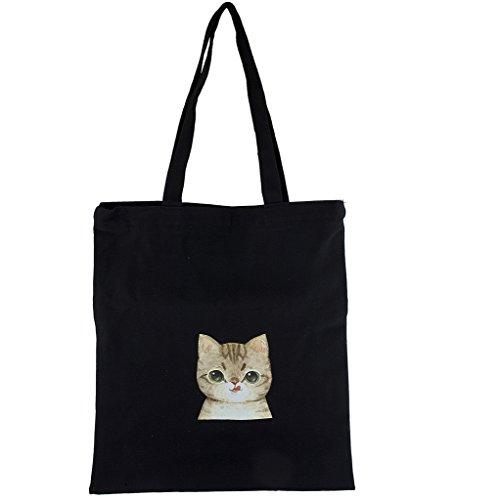 LUX accesorios negro lona Bronceado Silly Kitty Cat Impresión Hombro bolsa