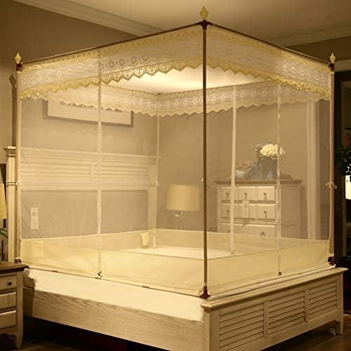 蚊帳テント,レース刺繍 モンゴルユルトドームネット 4コーナーベッドキャノピー(ダブルベッド用3開口部付) -i