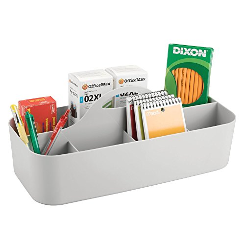 mDesign Large Office Storage Organizer Utility Tote Caddy Holder with Handle for Cabinets, Desks, Workspaces - Holds Desktop Office Supplies, Gel Pens, Pencils, Markers, Staplers, 4 Pack - Light Gray by mDesign (Image #5)