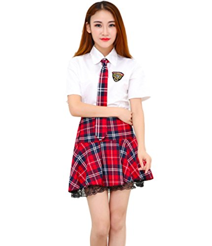 Moon Market Women's Private School Girls Japanese Uniform Anime Cosplay Costume Outfits (L (US4-6), Red)]()