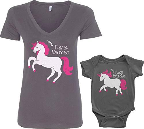 Mama & Baby Unicorn Infant Bodysuit & Women's V-Neck T-Shirt Set (Baby: 18M, Charcoal|V-Neck: M, Charcoal)