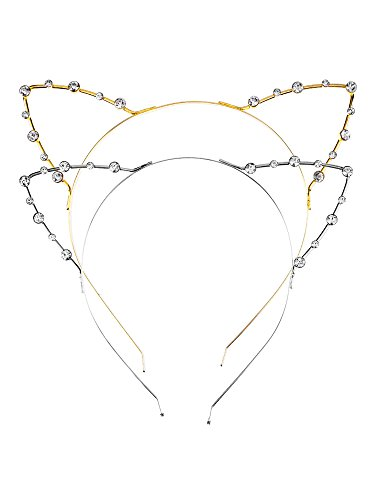 Kitty Ear Headband (Mudder Cat Ear Headband, 2 Pieces, Gold and Silver)