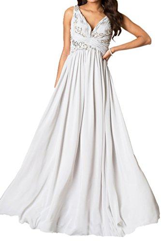 Ivydressing Damen V-Ausschnitt Traeger A-Linie Ballkleid Festkleider Abendkleider Weiß Gv2fF3