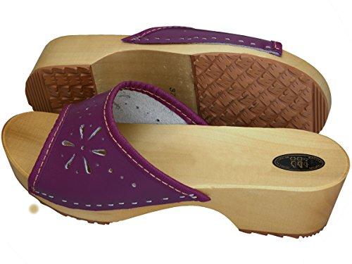 Sanitarios para 35 Madera Estorbos 41 BeComfy Tacones Dedos Zuecos Cuero Violeta Abiertos Zapatos Mujeres S4vwgAq