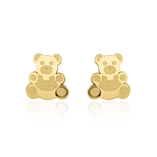 14K Fine Yellow Gold Enamel Bear Screw Back Stud Earrings for Girls Gift Children Kids by youme Gold Jewelry (Image #2)