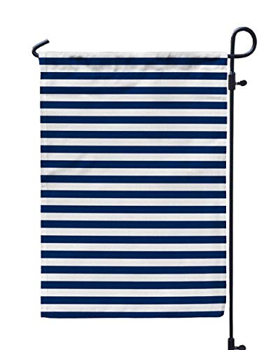 Shorping Welcome Garden Flag, 12x18Inch Navy Blue amp White Horizontal Stripes Pattern Texture Background for Holiday and Seasonal Double-Sided Printing Yards Flags