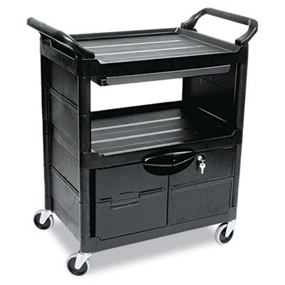 RCP345700BLA - Rubbermaid Utility Cart With Locking Doors (Cabinet 2 Door Rubbermaid)