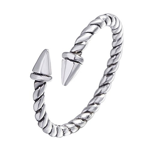 HYLJ Sterling Silver Plated Vintage Double bullet Arrow Screw thread adjustable Band ring,size 5-9 by HYLJ