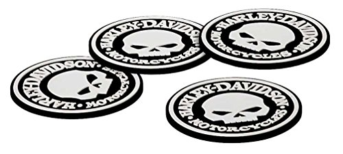 Glass Wisconsin Game Table - Harley-Davidson Skull Coasters Set - 4 Rubber Coasters HDL-18522