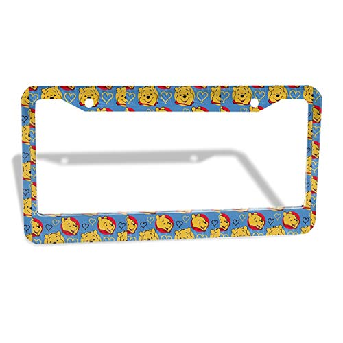 (HYLSJY License Plate Frame Personalized - Winnie The Pooh in Blue Background Design and Make Your Own Customized Automotive High Gloss Metal License Plate -Standard Non Anti-Theft Model)